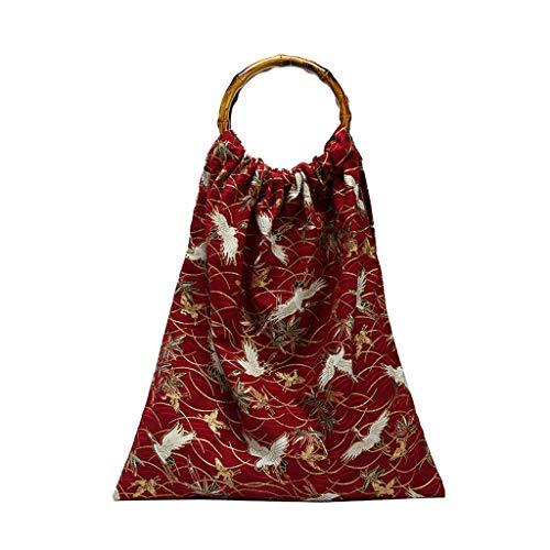 Claystyle 2019 Woman New Personality Pattern Bag Bamboo Handle Portable Bag Green Handbag (Bamboo Cube Handbag)