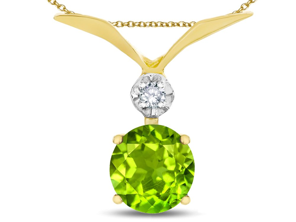 Star K Round 7mm Genuine Peridot Pendant Necklace 14 kt Yellow Gold