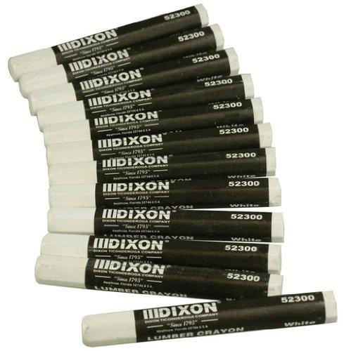 - Dixon 52300 Lumber Crayons, 4 1/2 x 1/2, White, Dozen