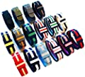 BARTON Watch Bands; Choice of 16 Colors, 3 Widths (18mm, 20mm or 22mm); NATO Style; Ballistic Nylon and Stainless Steel