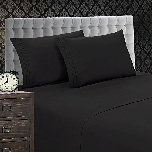 "Elegant Comfort 1500 Thread Count WRINKLE & FADE RESISTANT 4-Piece Egyptian Quality Softness Bed Sheet Set, Deep Pocket Up to 16"" - All Size and Colors , Queen Black"