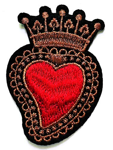 Nipitshop Patches Beautiful Red Heart Crown Royal King