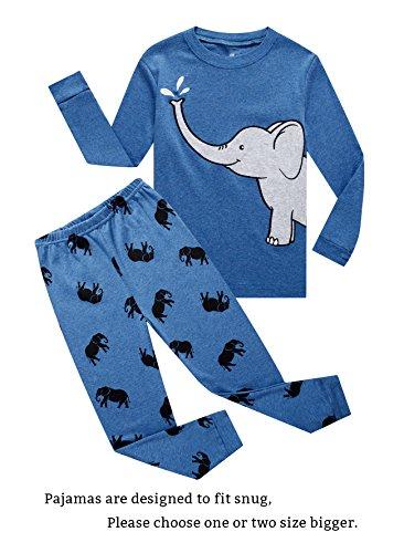 Family Feeling Boys Elephant Pajamas 100% Cotton Blue Long Sleeve Pjs Kids Size - Size Set 4 Pajamas Boys