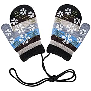 Amandir Warm Kids Knit Mittens, Colorful Cute Toddler Mittens with String