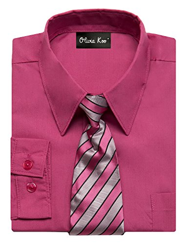 Boys In Pink Dresses - OLIVIA KOO Boys Kids Long Sleeve Solid Color Dress Shirts With Matching Windsor Tie Set,Fuchsia,16