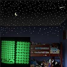 Kids Room Decor, Rumas Glow Star 103Pcs Star Moon Luminous Wall Stickers