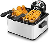 Gourmia GDF-450 Compact Electric Deep Fryer-3 Baskets-Dual Thermostat & Timer Dials-Stainless Steel-4.2 quart/18