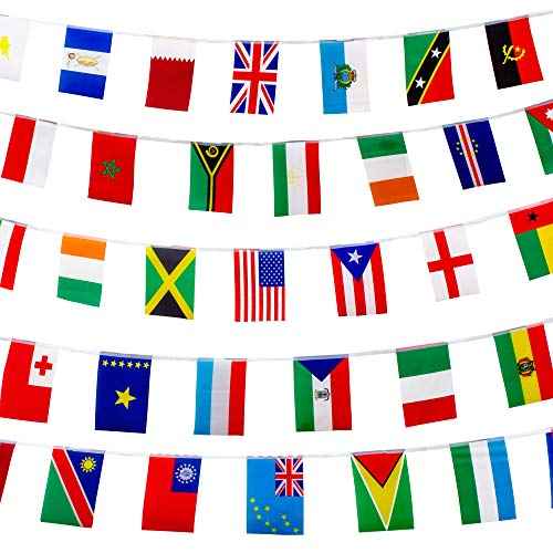 200 World Country Flags International Banner Bunting Pennant, 165 Feet 8.2'' x 5.5'', for Party Decorations, Bars, Sports Clubs, Events, School Festivals, Celebrations + FREE Country Fun Facts -