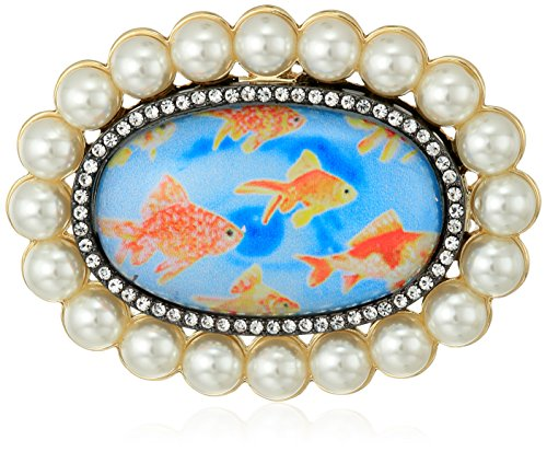 Betsey Johnson Womens Granny Chic Gold Fish and Pearl Brooches and Pin, Multi, One Size