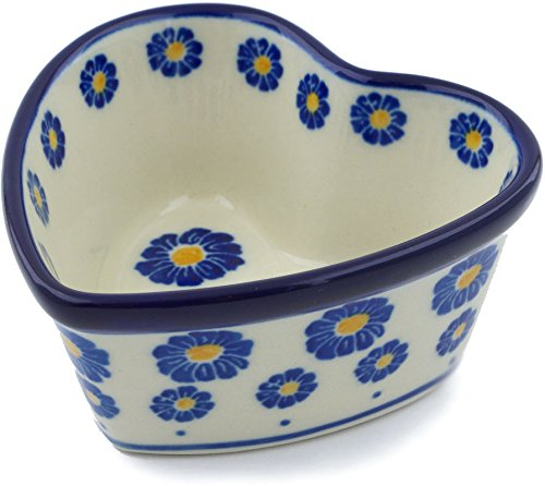 - Polish Pottery 3½-inch Heart Shaped Bowl made by Ceramika Artystyczna (Wreath Of Blue Theme) + Certificate of Authenticity