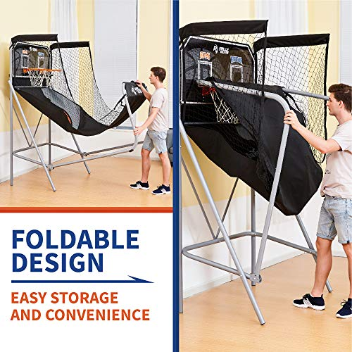 Classic Shootout Basketball Arcade Game, Home Dual Shot with LED Lights and Scorer - 8-Option Interactive Indoor Basketball Hoop Game with Double Hoops, 7 Basketballs, Pump - Foldable Space Saver by Rally and Roar (Image #2)