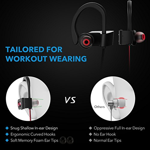 Mpow Flame Bluetooth Headphones Sport IPX7 Waterproof Wireless Sport Earbuds, Richer Bass HiFi Stereo In-Ear Earphones, 7-9 Hrs Playback, Running Headphones W/CVC6.0 Noise Cancelling Mic, Red 5