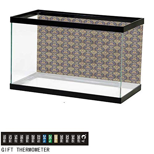 bybyhome Fish Tank Backdrop Asian,Oriental Arabic Pattern,Aquarium Background,36