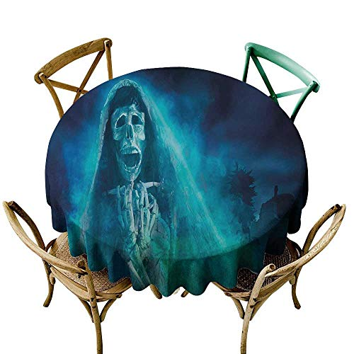 Wendell Joshua red Tablecloth 54 inch Halloween,Gothic Dark Backdrop with a Dead Ghost Skull Mystical Haunted Horror Themed Digital Art,Blue Polyester Fabric Table Cloth]()