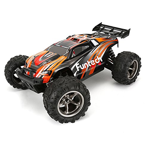 Funtech RC Cars - RC Electric Racing Car - Remote Control Off Road Monster Truck - 1:18 Scale Off Road 2.4GHz Radio RC 4WD High Speed 45 KMPH - Orange