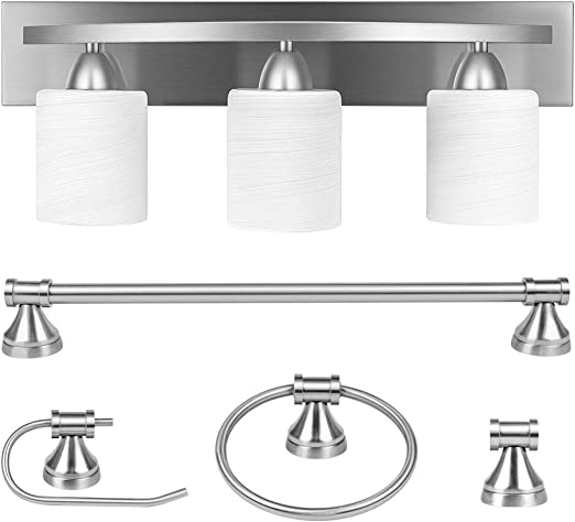 3-Light Bathroom Vanity Light Fixture, 5 Piece All-in-One Bath Sets, Bar, Towel Ring, Robe Hook, Toilet Paper Holder, Brushed Nickel with White Frosted Glass Vanity Light by PARTPHONER