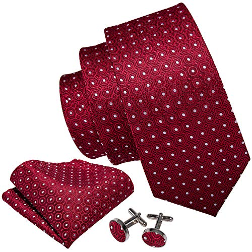 Barry.Wang Classic Red Woven Tie Hanky Cufflink Set (Dark Red Tie)