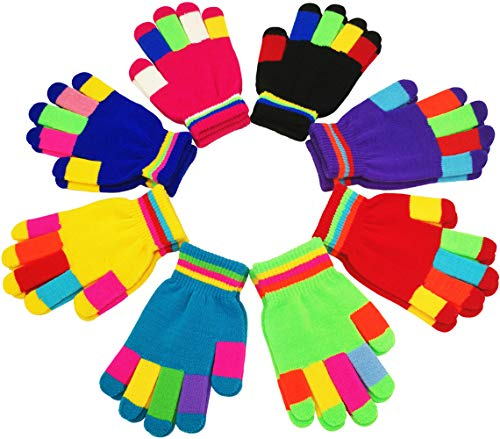 (Children Warm Magic Gloves 8 Pairs, Kids Full Finger Knitted Stretchy Anti-slip Winter Glove for Boys and Girls (7 to 16 Years) (C. 7 to 16 Years))