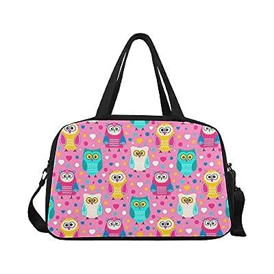 02942c51e5b1 cheap InterestPrint Pink Cute Owls Duffel Bag Travel Tote Bag Handbag  Luggage
