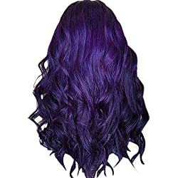 Inkach Clearance! Long Wavy Lace Front Wig, Women Middle Part Curly Synthetic Fiber Hair Wigs (Purple)