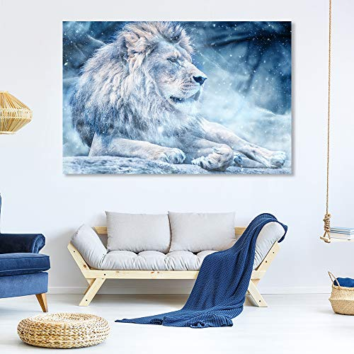 SIGNFORD Canvas Wall Art for Living Room,Bedroom Home Artwork Paintings Snow Mountain Forest Lion Ready to Hang - 32x48 inches (In Forest Snow)
