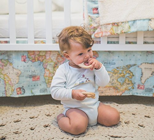 Baby Bedding Set - 2 piece set of Baby Blanket and Crib Skirt with world map fabric. Welcome to the World Little One! Perfect for an Adventure or Travel theme baby shower or Nursery. by Hagar Sewing Shop