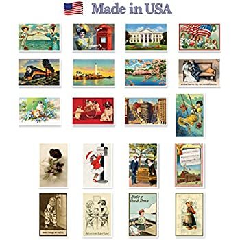 VINTAGE REPRINTS 1907-1941 postcard set of 20. Post card variety pack of vintage postcards reprnits. Made in USA.