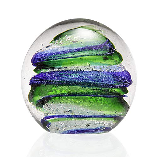 Anecdotal Aardvark Art Glass Green & Blue Swirl with Gold Flecks Sphere and Paperweight Ball