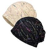 WELROG Chemo Hat Women Beanie Hat Lace Head Scarf Super Soft Slouchy Turban Headwear Head Wraps Sleep Caps for Cancer