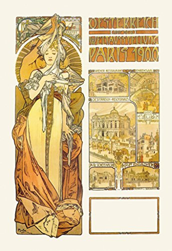 "BuyEnlarge by Alphonse Mucha Wall Decal, Oesterreich Weltausstellung Paris 1900, 36"" H x 24"" W from BuyEnlarge"