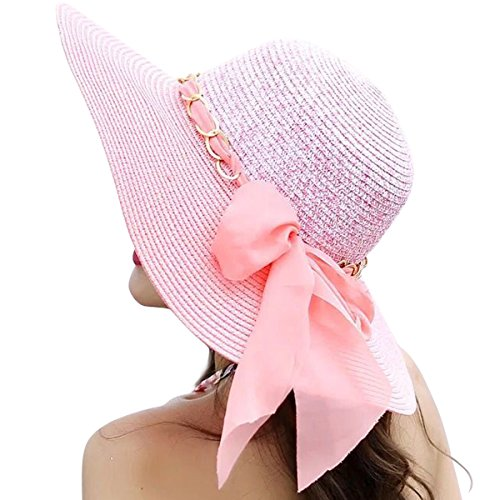Lanzom Womens Wide Brim Straw Hat Floppy Foldable Roll up Cap Beach Sun Hat UPF 50+ (Style C-Pink) by Lanzom