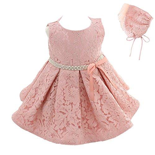 Meiqiduo Baby Girls 3Pcs Set Christening Baptism Wedding Formal Dress (3M/0-6months, Pink) ()