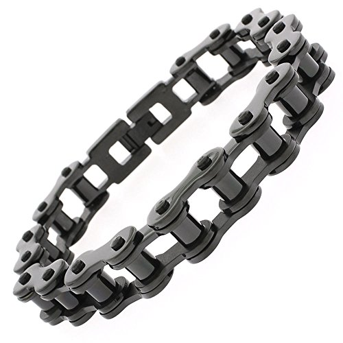 Stainless Steel Mens Jet Black Bicycle Bike Chain Link Bangle Bracelet 8.5