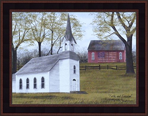 Americana Framed (Faith and Freedom by Billy Jacobs 15x19 Country Church Bell Steeple Red Barn Flag Patriotic Americana Framed Art Print Picture)