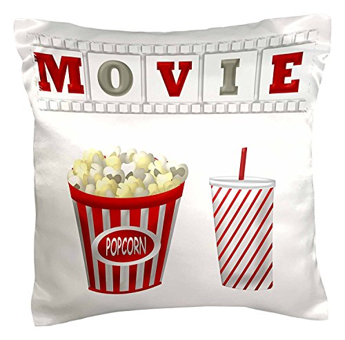 OneMtoss Decorative Silk Pillow Cover The Word Movie with Popcorn and Soda Illustration in Red White and Gray 26X26 Inch -