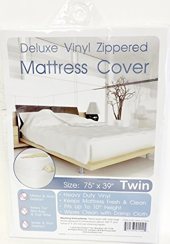 Twin Size Zippered Mattress Cover Vinyl Keeps Out Bed Bugs