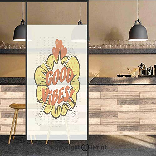 (3D Decorative Privacy Window Films,Pop Art Comics Icon Blast Explosion Retro Quote Red Hearts Hipster Cartoon Decorative,No-Glue Self Static Cling Glass film for Home Bedroom Bathroom Kitchen Office 1)