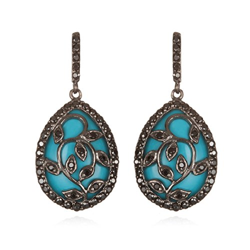 Silver White Cz Leaf Design Earring with Simulated Turquoise ()