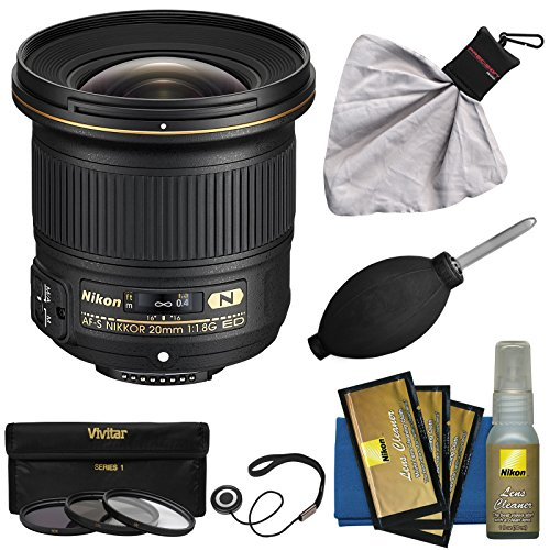 Nikon 20mm f/1.8G AF-S ED Nikkor Lens with 3 UV/CPL/ND8 Filters + Nikon Cleaning Kit for D3200, D3300, D5300, D5500, D7100, D7200, D750, D810 Cameras