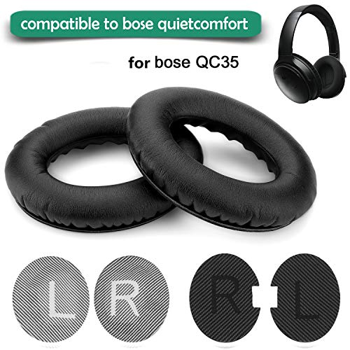 (Replacement Ear Pads for Bose Headphone,Wadeo Earpads Ear Cushion Kit Memory Foam Cups Cover Compatible for QC35 QuietComfort 35,Inner Foam Mats,1 Pair Black)