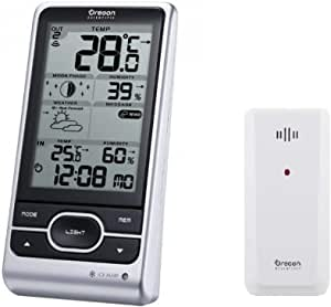 Oregon Scientific BAR208HGX Advanced Wireless Weather Station with Temperature Forecast, Ice Alert, Self-setting Atomic Clock, Month/Day Calendar, Large LCD, Moon Phase, Silver