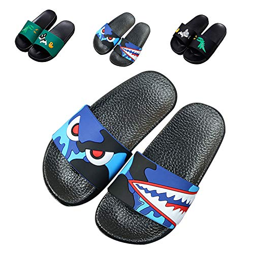 JACKSHIBO Boys Girls Slide Sandals, Outdoor Indoor Sandals Beach Water Flip Flop 66616-dark Blue 9 Toddler