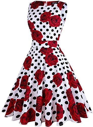 polka Mujer Vestido Dot White rose Owin Noche Para wXPxTPq
