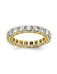 14k Yellow Gold Cushion Eternity Wedding Ring Band G H I True Moissanite Size 5.00 Light Style Fine Jewelry Gifts For Women For Her