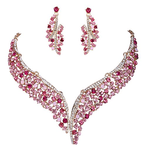 EVER FAITH Austrian Crystal Graceful Wing Flower Necklace Earrings Set Pink Gold-Tone - Jewelry Pink Rhinestone
