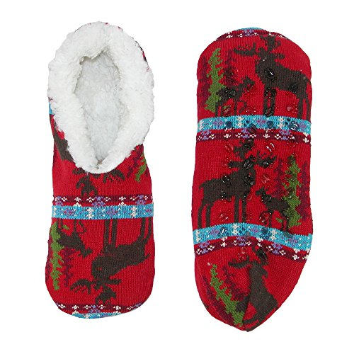 Knit with Lining Knits Fleece Slippers Alotta Women's Sherpa Print Moose Red xUEYwz