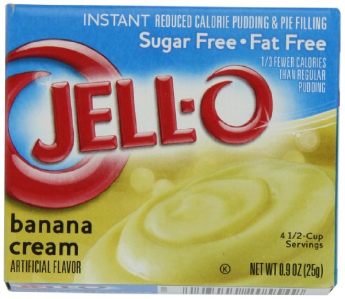 JELL-O Banana Cream Instant Sugar Free Fat Free Pudding & Pie Filling Mix (0.9 oz Boxes, Pack of 24) (Pie Low Jello Fat)