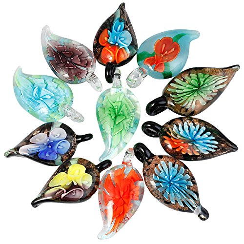 SUNTYIK Assorted Floral Leaf Shape Murano Crystal Glass Pendant Necklace, Pack of 5