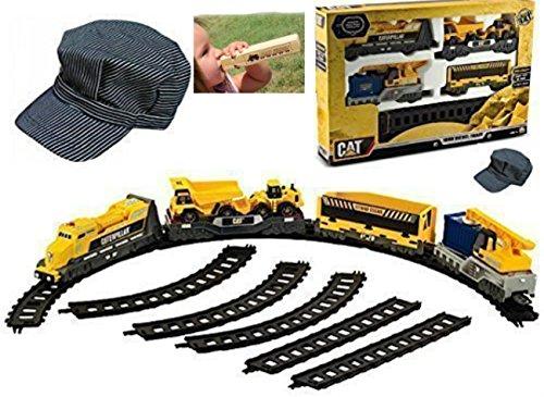 Toy Caterpillar Supreme Motorized Train Set with Engineers Hat And Handmade - Builder Playset Cat Bridge