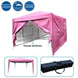 Quictent Privacy 8'x8' Pink EZ Pop Up Party Tent Canopy Gazebo Mesh Curtain Waterproof